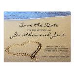 Économies de mariage d'océan de plage la date cartes postales