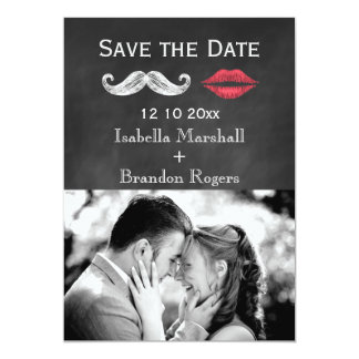 Économies de moustache et de photo de lèvres la carton d'invitation  12,7 cm x 17,78 cm