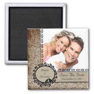 Économies de photo d'inséparables de damassé de magnet carré