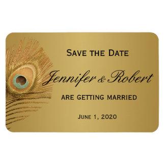 Économies d'or de mariage de paon la date magnet rectangulaire avec photo