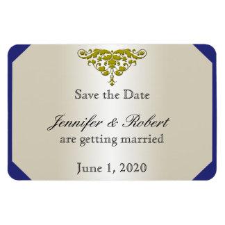 Économies enes ivoire de mariage damassé d'or de magnet rectangulaire avec photo