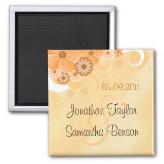 Économies florales de mariage d'or en ivoire le magnet carré