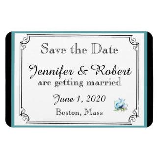 Économies florales turquoises de mariage magnets en rectangle