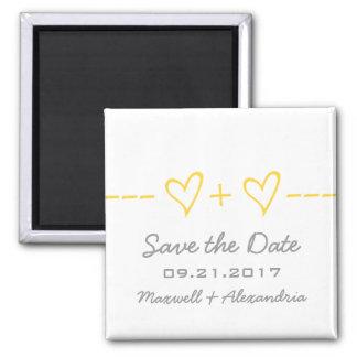 Économies jaunes d'équation de coeur l'aimant de d magnet carré