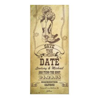 économies occidentales de cru de bottes de cowboy carton d'invitation  10,16 cm x 23,49 cm