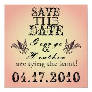Économies romantiques de grunge la date… carton d'invitation  13,33 cm