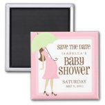 Économies roses de baby shower la date magnet carré