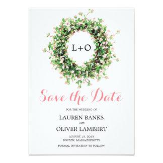 Économies roses de la guirlande | de fleur de carton d'invitation  12,7 cm x 17,78 cm