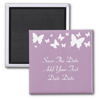 Économies roses et blanches de papillon l'aimant magnet carré