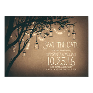 Économies rustiques la date et les pots de maçon carton d'invitation  11,43 cm x 15,87 cm