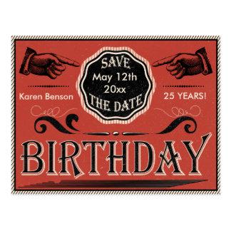 Économies vintages d'anniversaire la date carte postale