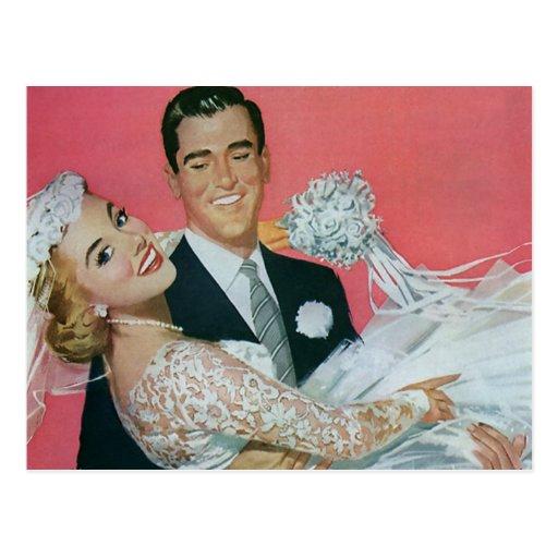Économies vintages de mariage la date ! nouveaux m cartes postales