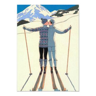 Économies vintages de neige de skis de baiser bristol personnalisé