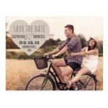 Économies vintages de photo de coeur rustique la c cartes postales