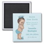 Économies vintages de prince baby shower le bleu magnet carré