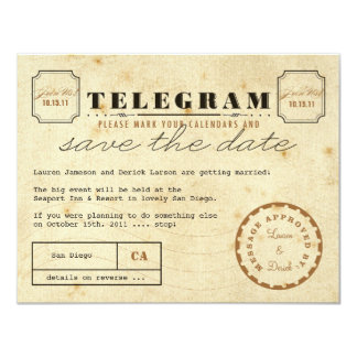 Économies vintages de télégramme la date carton d'invitation 10,79 cm x 13,97 cm