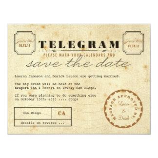 Économies vintages de télégramme la date cartons d'invitation personnalisés