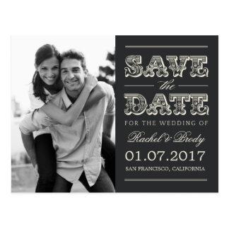 Économies vintages douces de mariage la date - carte postale