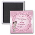 Économies vintages roses de princesse baby shower  magnet carré