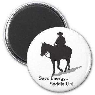 Économisez l'énergie… Sellez l'aimant - cavalier o Magnet Rond 8 Cm