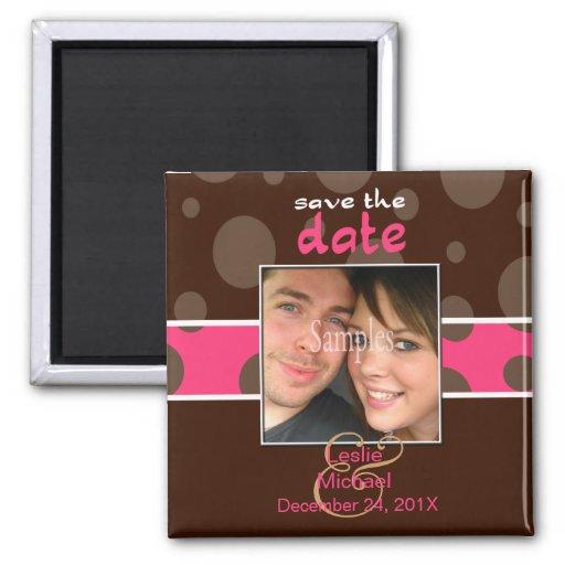 Économisez/magnet photo de date/bulles de chocolat aimant