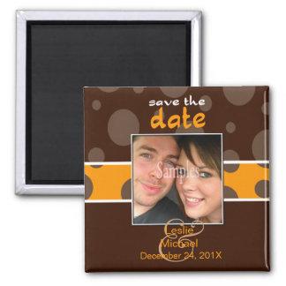 Économisez/magnet photo de date/bulles de chocolat magnet carré