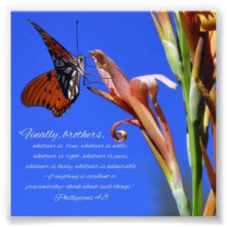 Écriture sainte de 4 8 de Phillipians de papillon Impression Photo