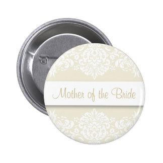 Ecru Damast-Mutter des Braut-Knopfes Runder Button 5,7 Cm
