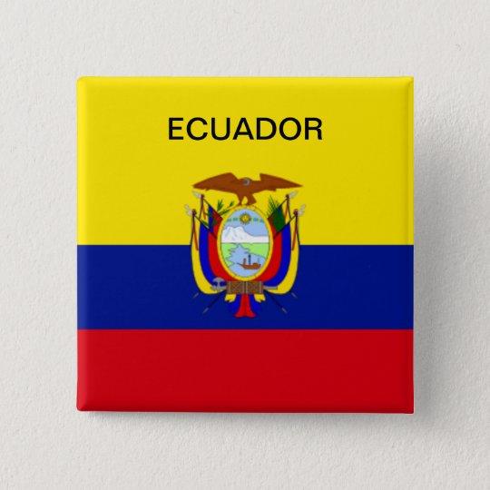 Ecuador-Flaggenknopf Quadratischer Button 5,1 Cm