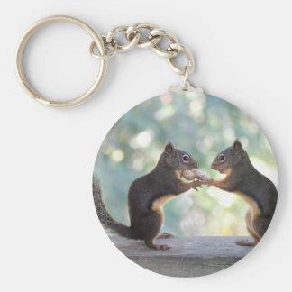 Écureuils partageant une photo d'arachide porte-clé rond