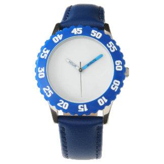Edelstahl-Blau-Uhr mit justierbarer Einfassung Armbanduhr
