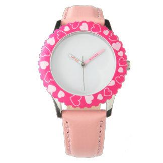 Edelstahl-rosa Herz-Uhr, justierbare Einfassung Armbanduhr