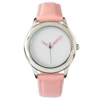 Edelstahl-rosa Lederband-Uhr Uhr
