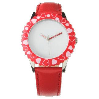Edelstahl-rote Herz-Uhr, justierbare Einfassung Uhr