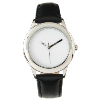 Edelstahl-schwarze Lederband-Uhr Uhr