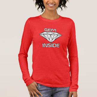 Edelstein-Innere - Diamant-weiße schwarze Grenzen Langarm T-Shirt
