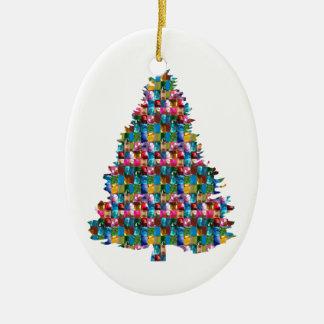 EDELSTEIN verzierter Weihnachtsbaum:  Frohe Keramik Ornament