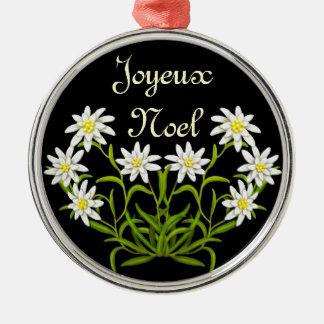 Edelweiss Joyeux Weihnachten-Verzierung Silbernes Ornament