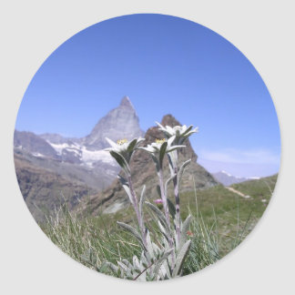 Edelweiss und Matterhorn Runde Sticker