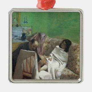 Edgar Degas | der Pedicure, 1873 Quadratisches Silberfarbenes Ornament
