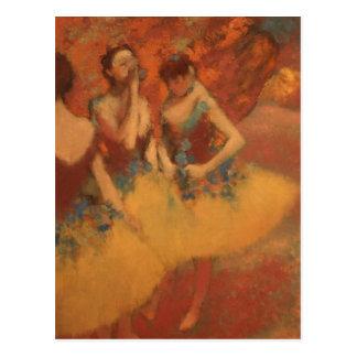 Edgar Degas | drei Tänzer in den gelben Röcken Postkarte