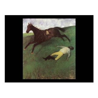 Edgar Degas gefallener Jockey Postkarte