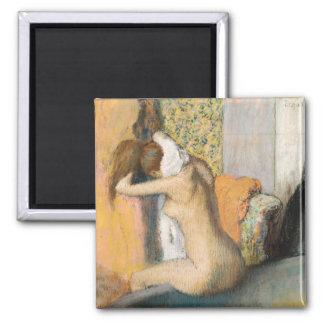 Edgar Degas | nach dem Bad, Frauen-trocknender Quadratischer Magnet