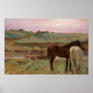 Edgar Degas - Pferde in einer Wiese Poster