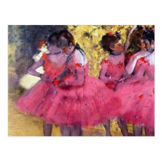 Edgar Degas - Tänzer im Rosa zwischen den Szenen Postkarte