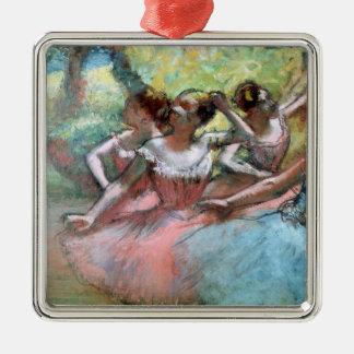 Edgar entgasen | vier Ballerinen auf der Bühne Quadratisches Silberfarbenes Ornament