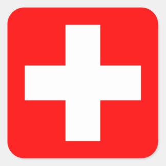 Editable Hintergrund, die Flagge von der Schweiz Quadrat-Aufkleber