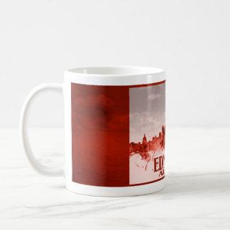 Edmonton-Skyline mit rotem Schmutz Kaffeetasse