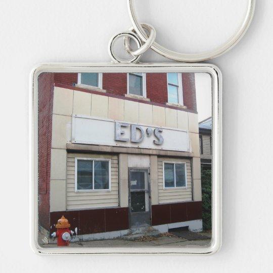 Eds Keychain Silberfarbener Quadratischer Schlüsselanhänger