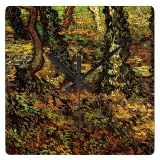 Efeu der Van- Goghbaum-Stamm-w, Vintager Quadratische Wanduhr